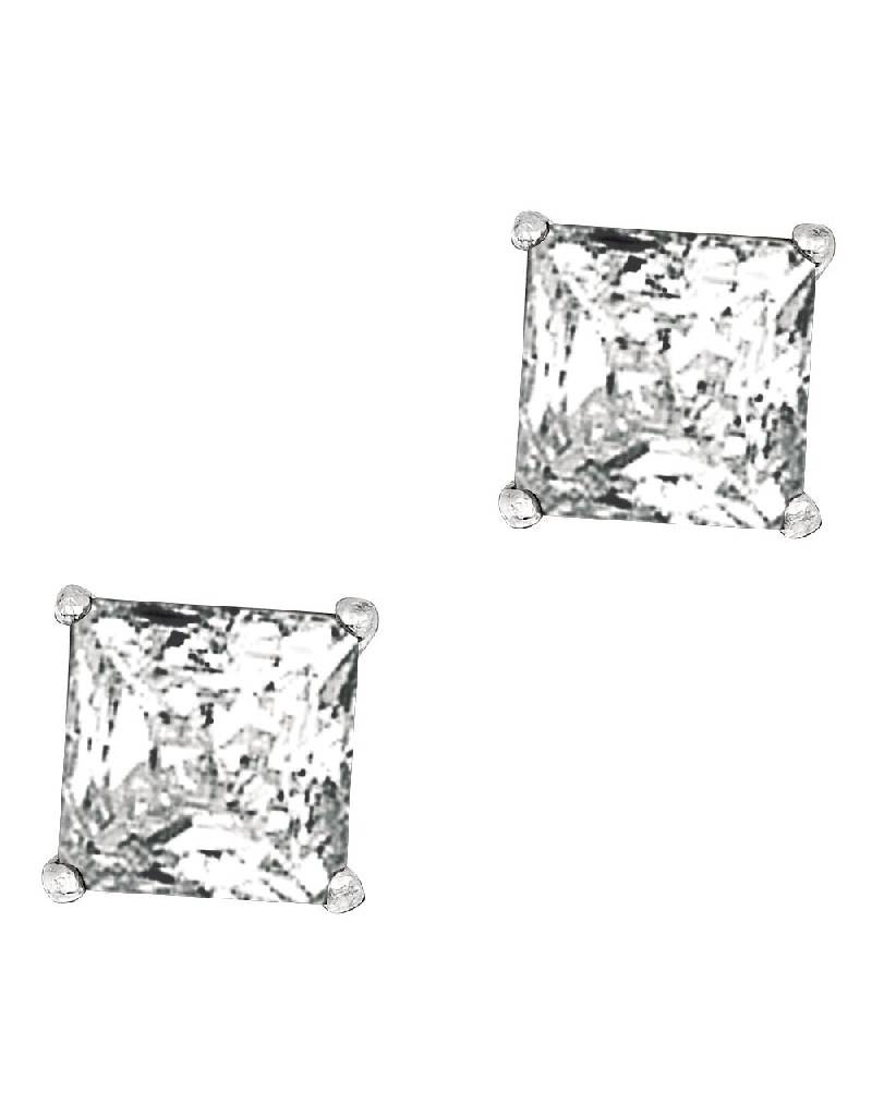 Square CZ Stud Earrings 7mm