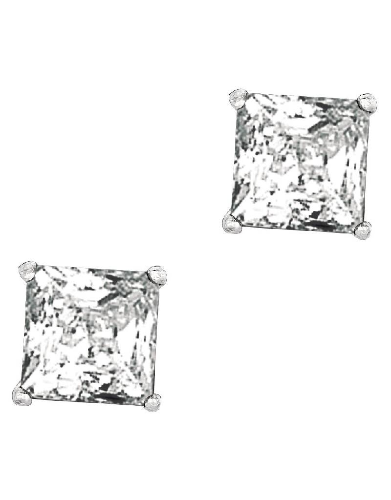 Square CZ Stud Earrings 8mm