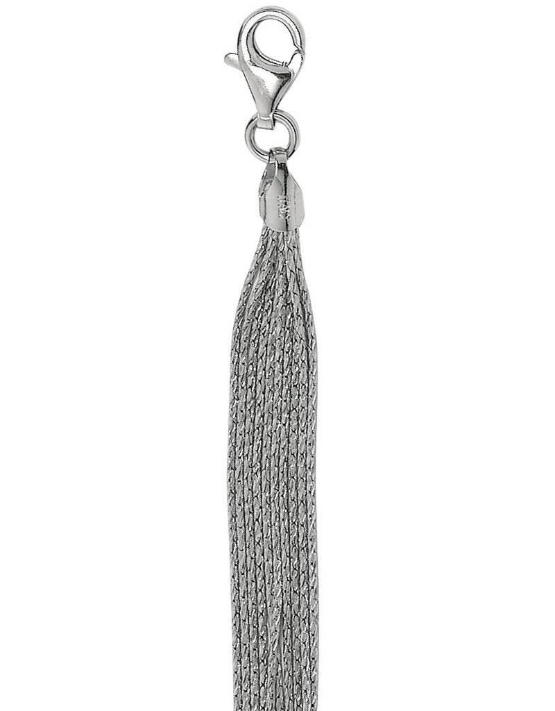 "Sterling Silver Multi Strand Sparkle Necklace 17"""