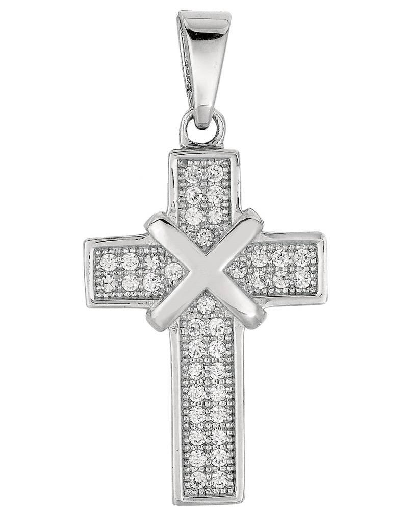 "Cross CZ Necklace 18"""