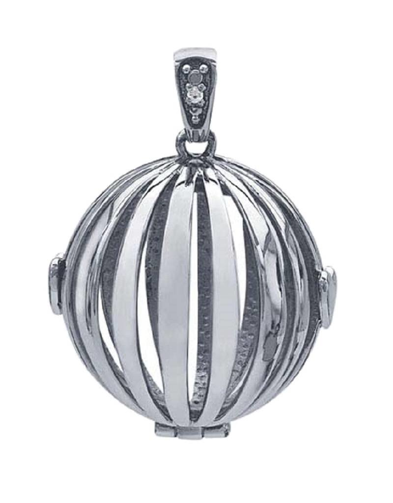 Sterling Silver Round Cage Locket Pendant with Diamond-Set Bail 22mm