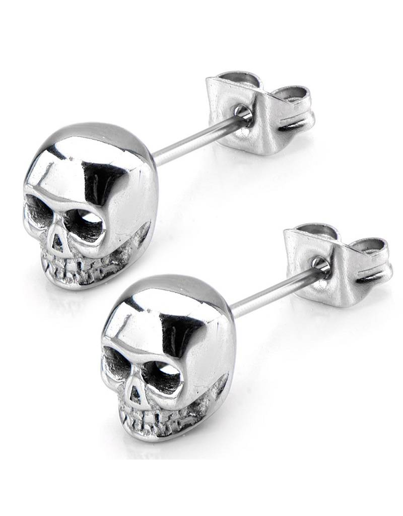 Steel Skull Post Earring 6mm