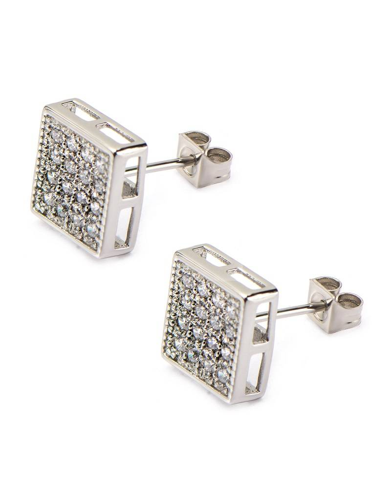 Square Pave CZ Steel Stud Earrings 10mm