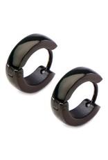 4mm Wide Stainless Steel Huggie Earrings with Black Ion Plating 13mm