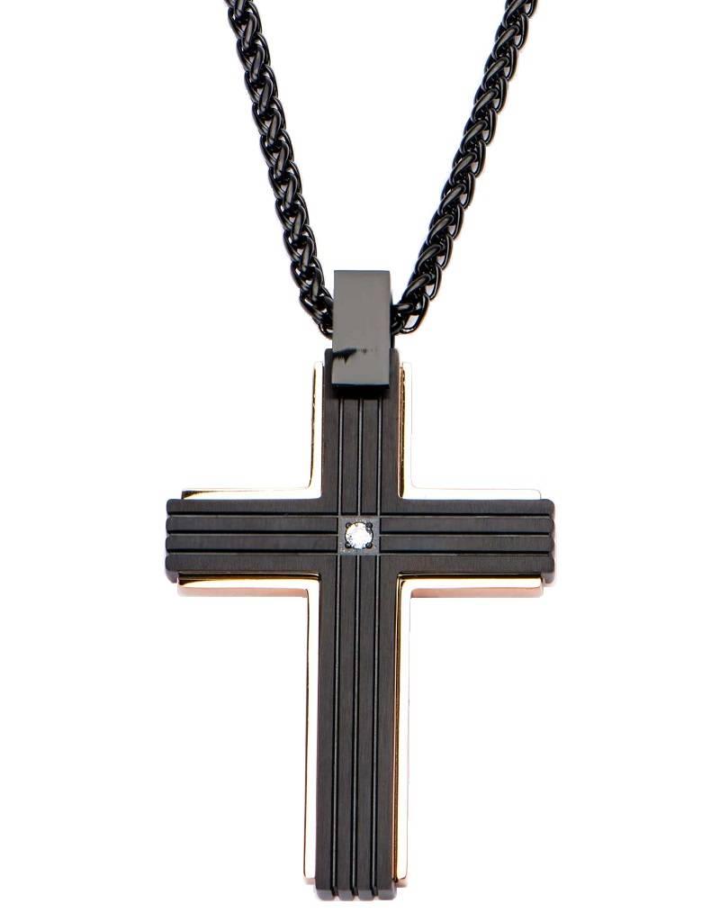 "Rose/Black Steel Cross Necklace 24"""