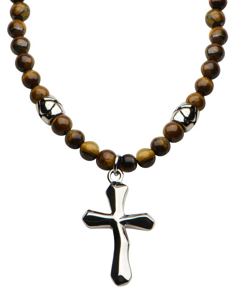 6mm Tiger Eye w/ Cross Necklace