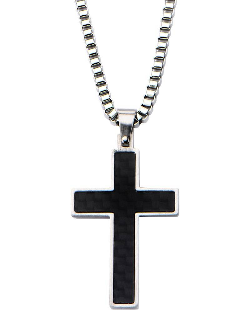 Carbon Inlay Cross Necklace 22""