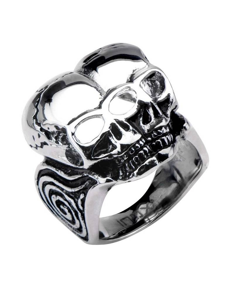 Steel Twin Skull Ring