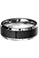 Men's Stainless Steel Carbon Fiber Notch Band Ring