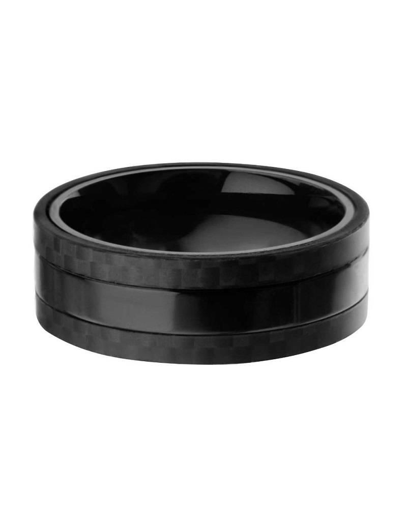 Men's Black Stainless Steel with Carbon Fiber Band Ring