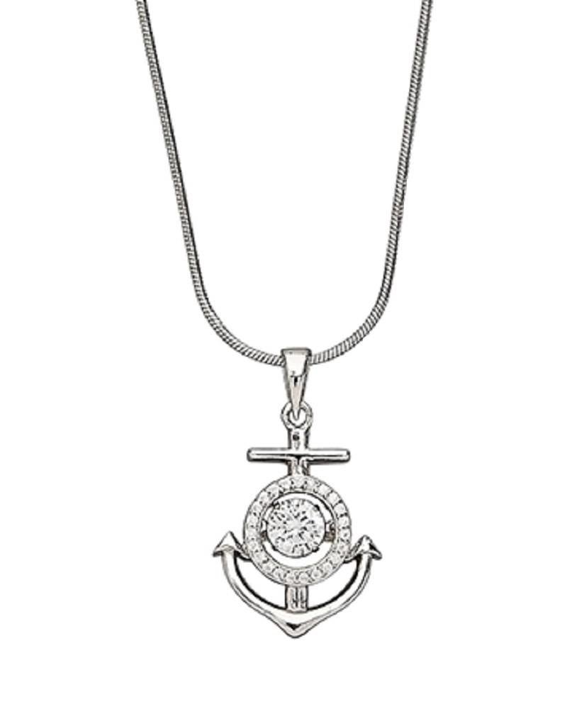 Sterling Silver Anchor with Dancing CZ Necklace 18""