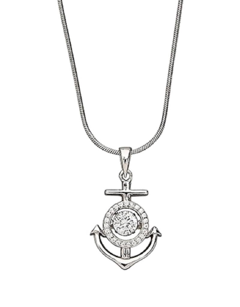 Anchor Dancing CZ Necklace