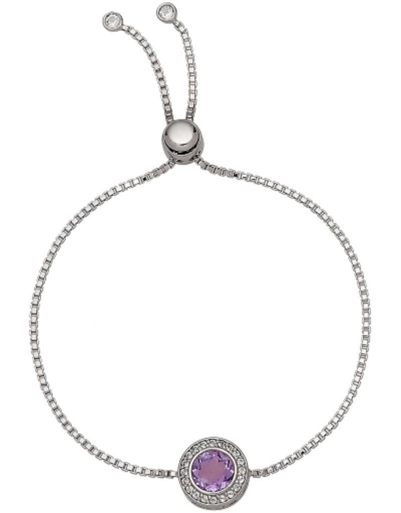 Women's Sterling Silver Round Amethyst and White Topaz Bolo Bracelet