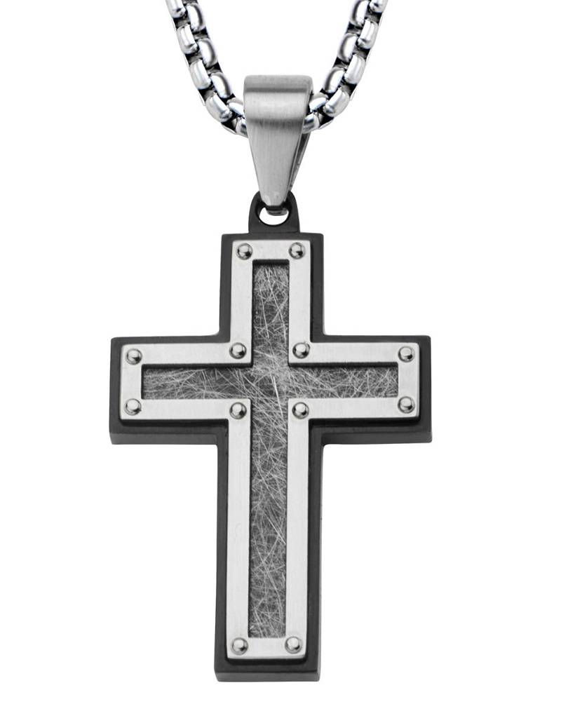 """Texture Steel Cross Necklace 24"""""""