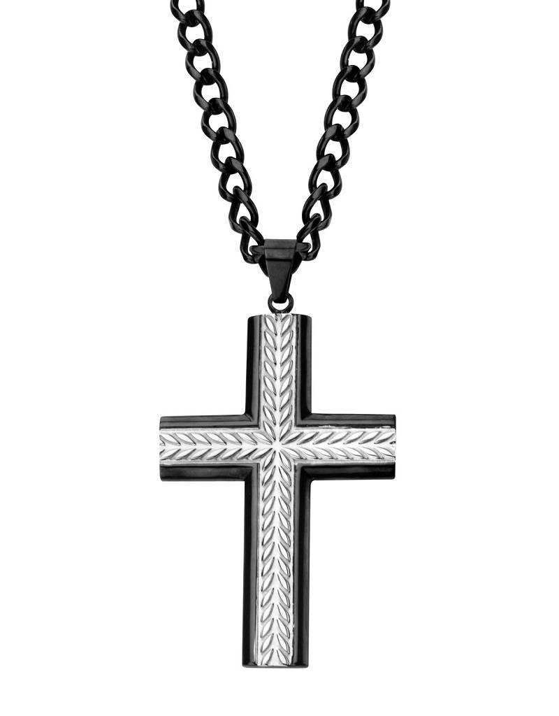 """53mm Steel Cross Necklace 22"""""""