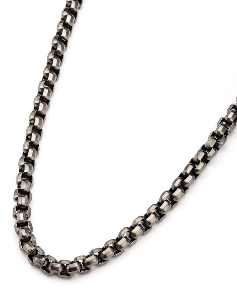 8mm Gunmetal Box Necklace 24""