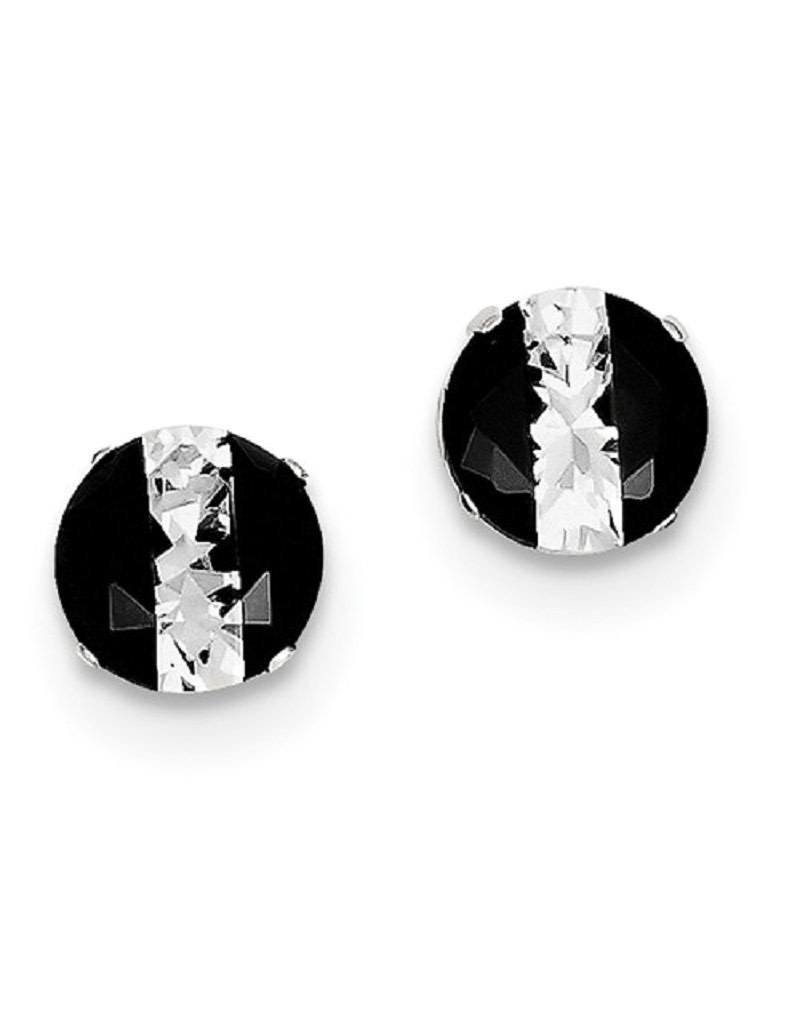 Sterling Silver 8mm Round Black and White CZ Stud Earrings