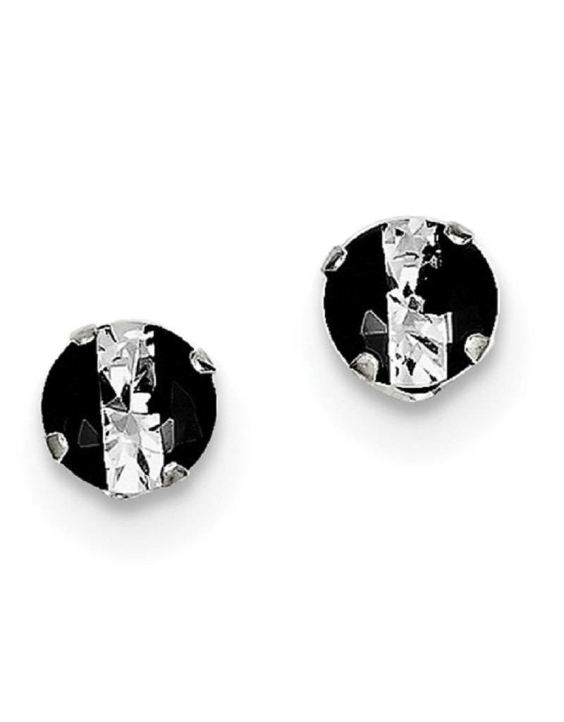 Sterling Silver 6mm Round Black and White CZ Stud Earrings