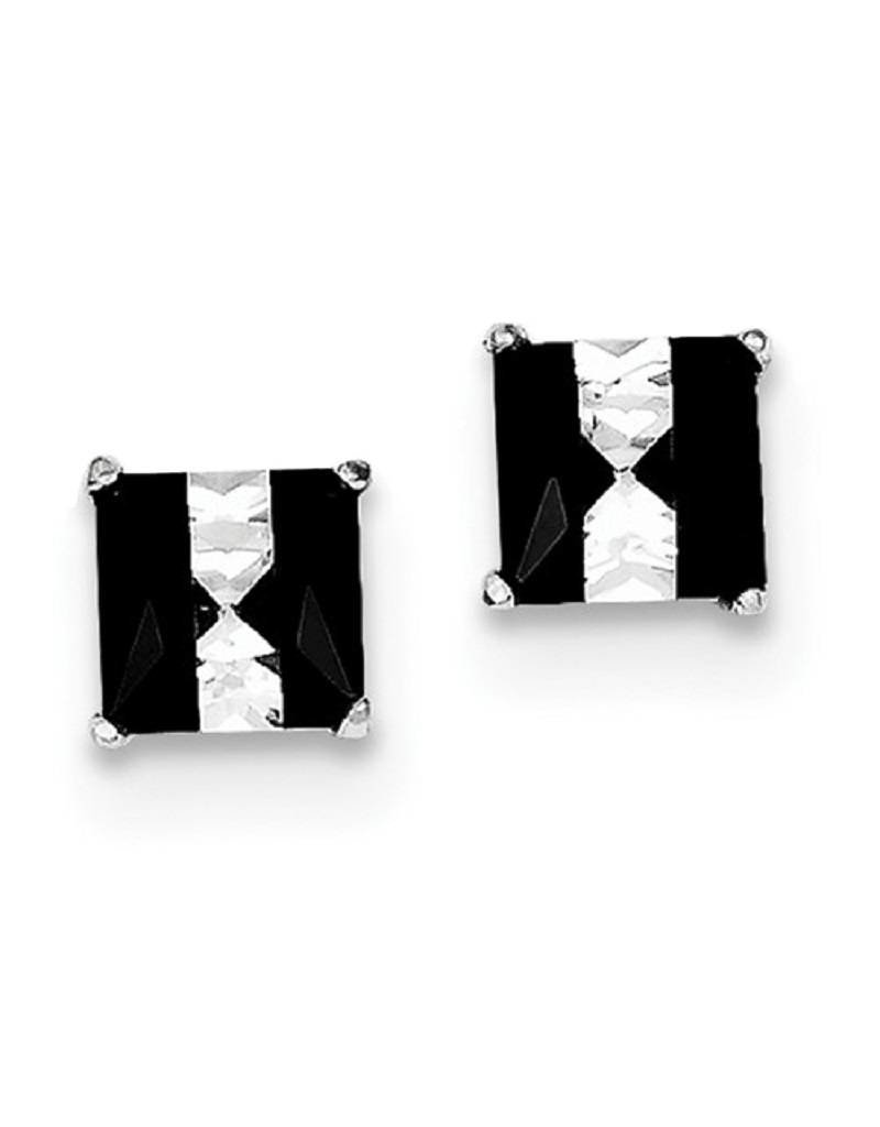 Sterling Silver 6mm Square Black & White Cubic Zirconia Stud Earrings