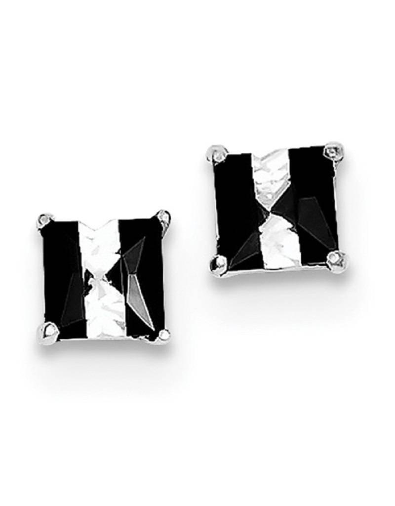 Black & White CZ Stud Earrings 5mm