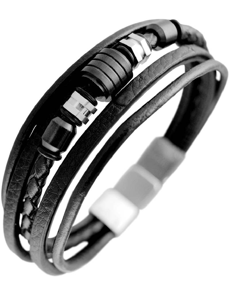Multi Strand Black Leather Bracelet