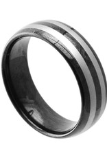 Men's Tungsten Black Striped Band Ring
