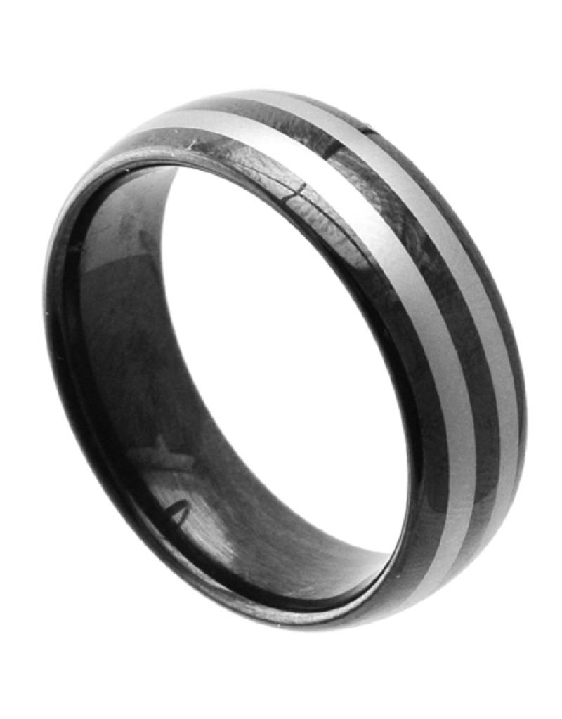 Striped Tungsten Band