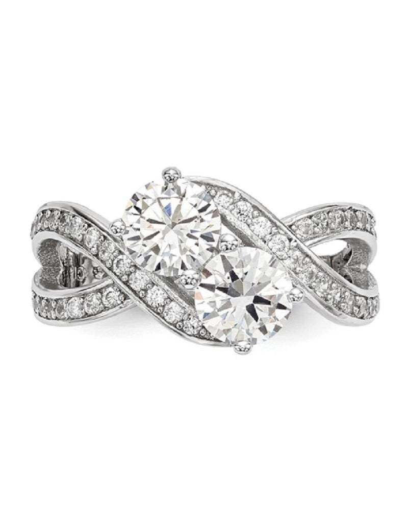 Sterling Silver 2-Stone Cubic Zirconia Ring