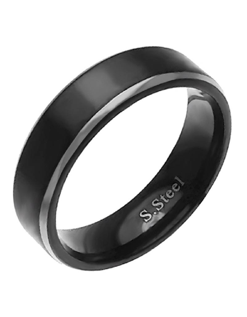 Men's Stainless Steel Brushed Black Band Ring