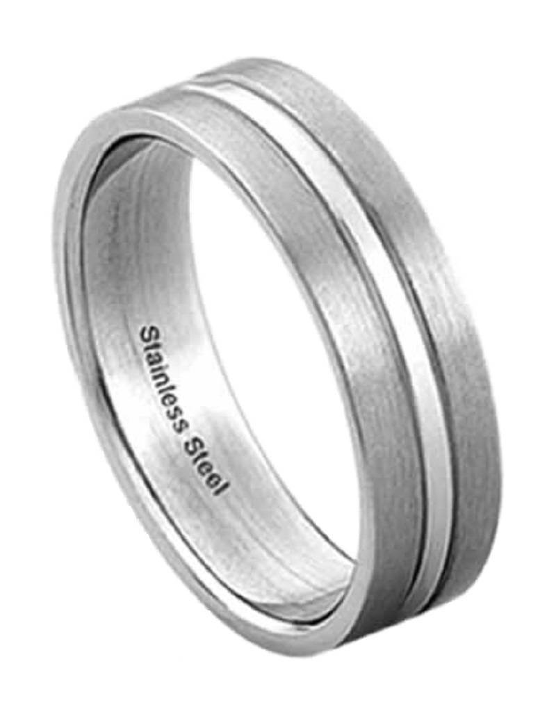 Men's Stainless Steel 5mm Flat Brushed Finish Band Ring