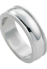 Men's Stainless Steel 7mm Wide Raised Edge Band Ring