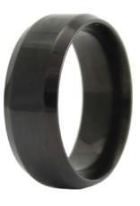 Men's Stainless Steel 8mm Black Shiny Steel Band Ring