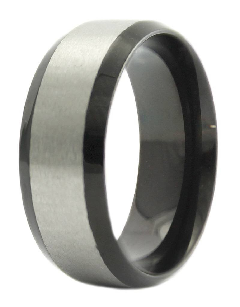 Men's Stainless Steel 8mm Wide Black Edge Band Ring
