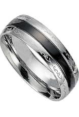 Men's Stainless Steel Black Stripe Design Band Ring