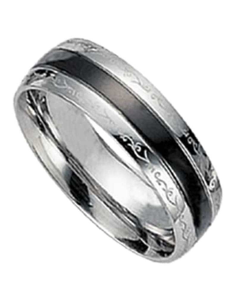 Men's Stainless Steel Black Stripe Design Band Ring