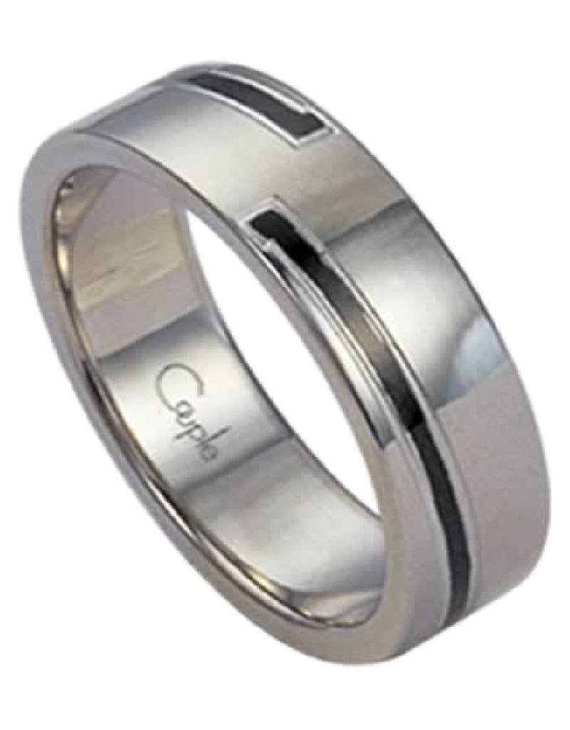 Men's Stainless Steel 6mm Wide Black Line Band Ring