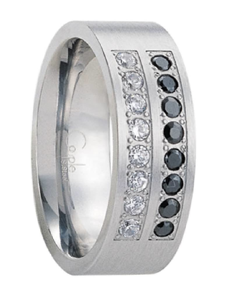Men's Stainless Steel Black and White Cubic Zirconia Band Ring