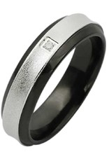 Men's Stainless Steel Black Edge Cubic Zirconia Band Ring Size 12