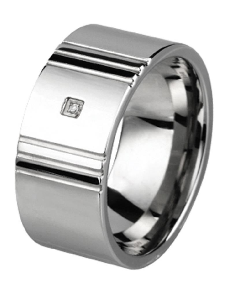 Men's Stainless Steel 10mm Wide Cubic Zirconia Band Ring