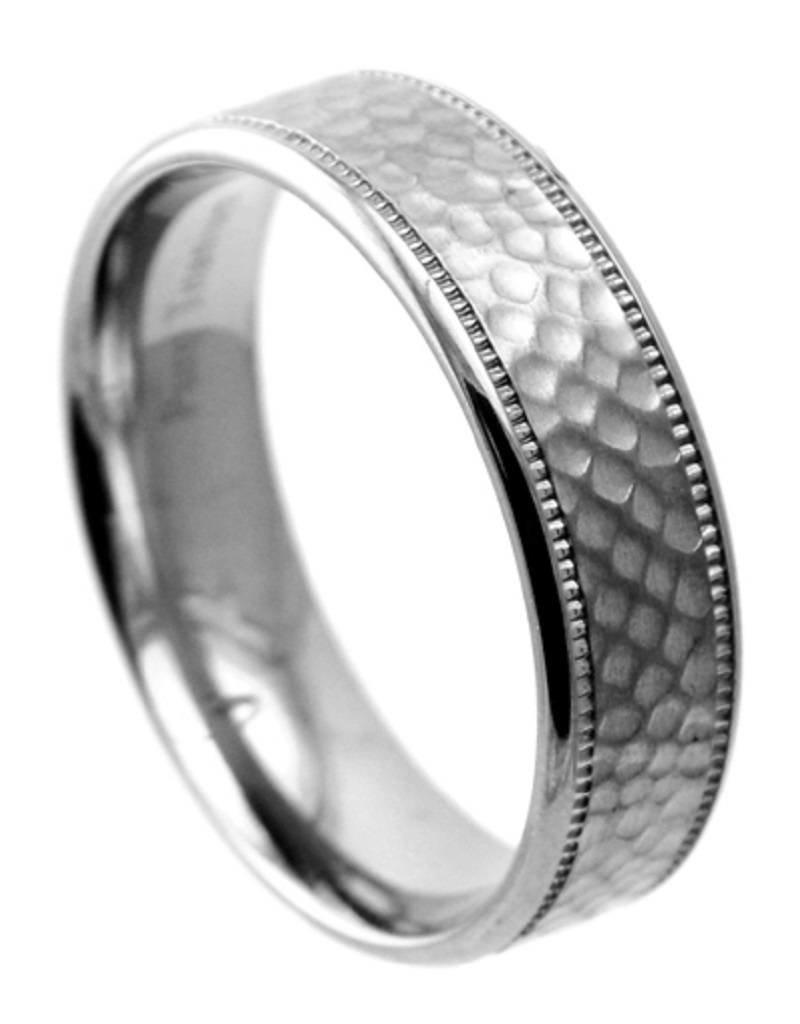 Men's Hammered Titanium Band Ring