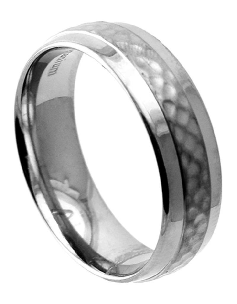 Men's Hammered Titanium Band Ring