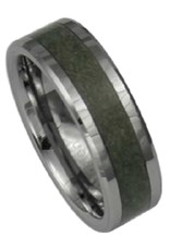Men's Tungsten with Green Fiber Inlay Band Ring
