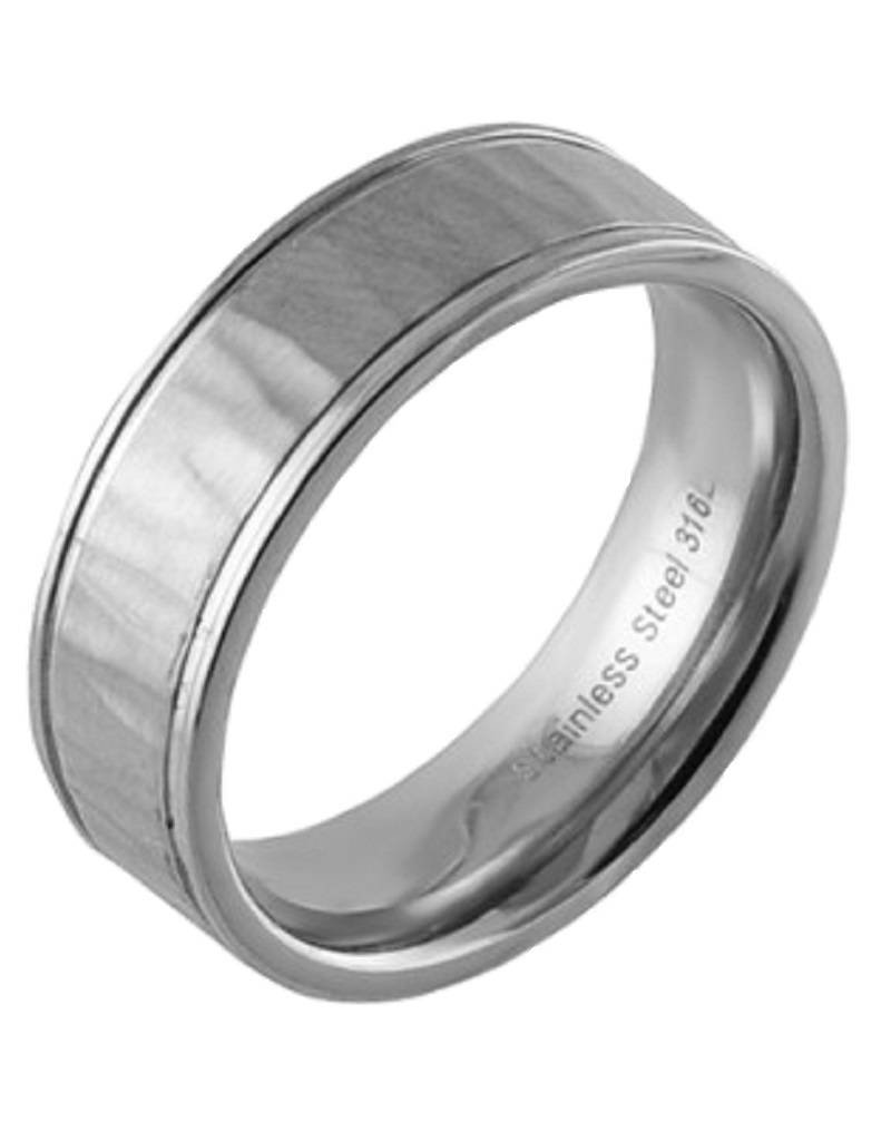Men's Stainless Steel Hammred Brushed Finish Band Ring