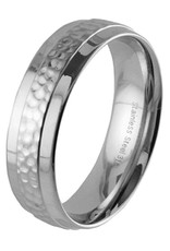 Men's Stainless Steel Hammered Center Band Ring