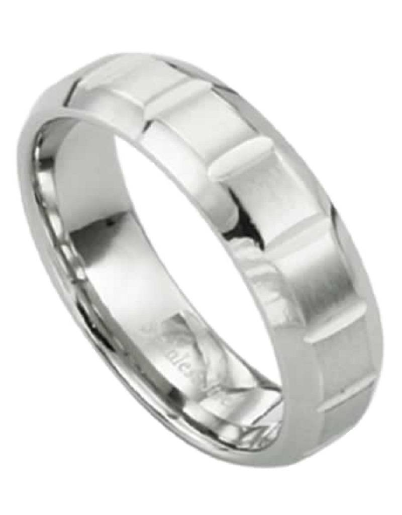 Men's Stainless Steel Notched Band Ring