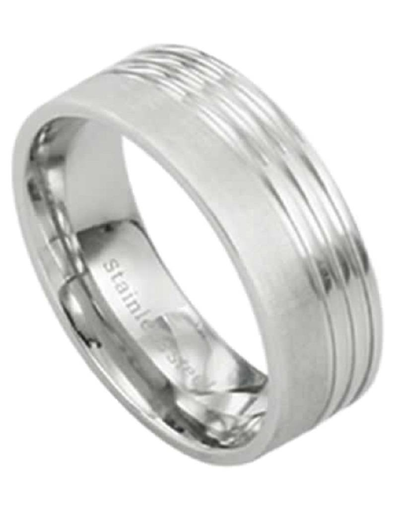 Men's Stainless Steel Flat Brushed Finish Band Ring