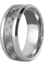 Men's Tungsten with Gray Carbon Fiber Inlay Band Ring