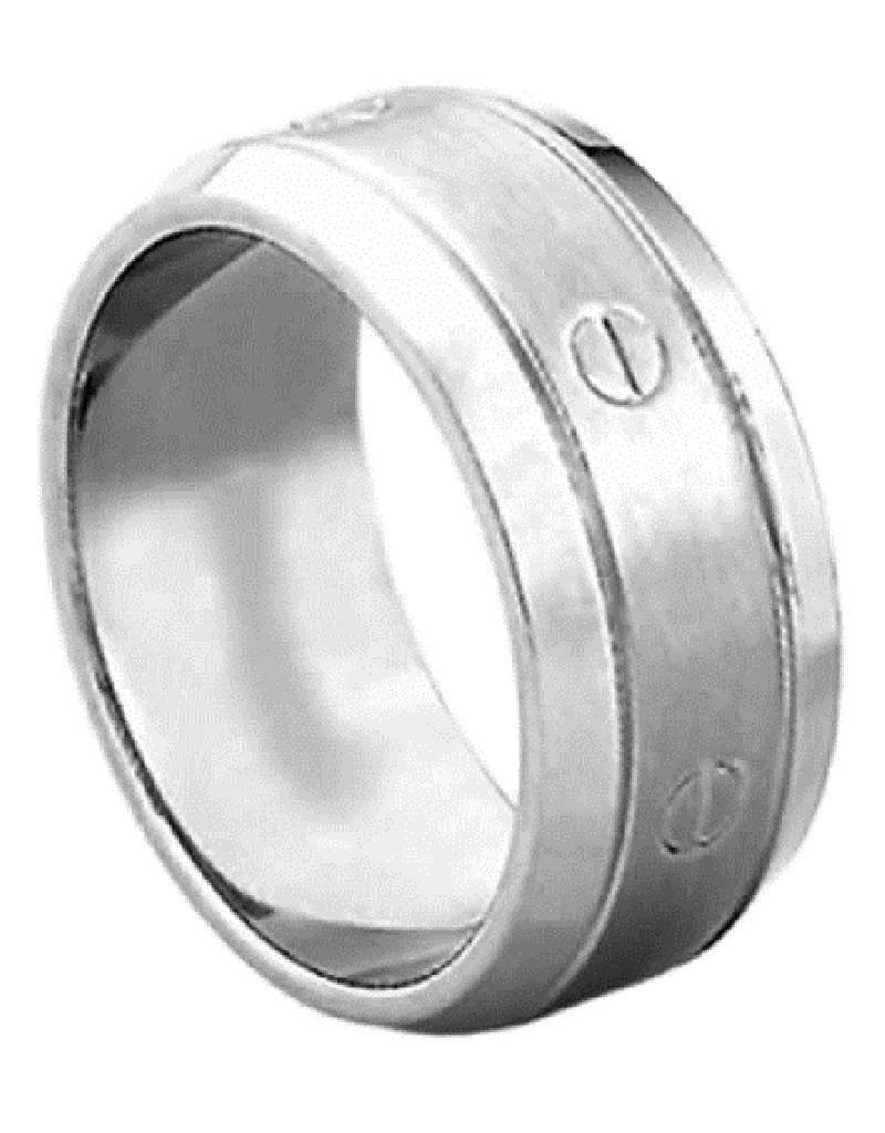 Men's Titanium Screw Design Band Ring