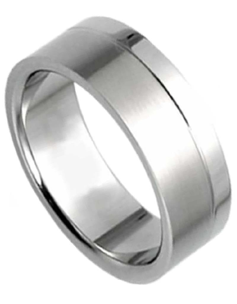 Men's Titanium Flat Brushed/Polished Finish Band Ring