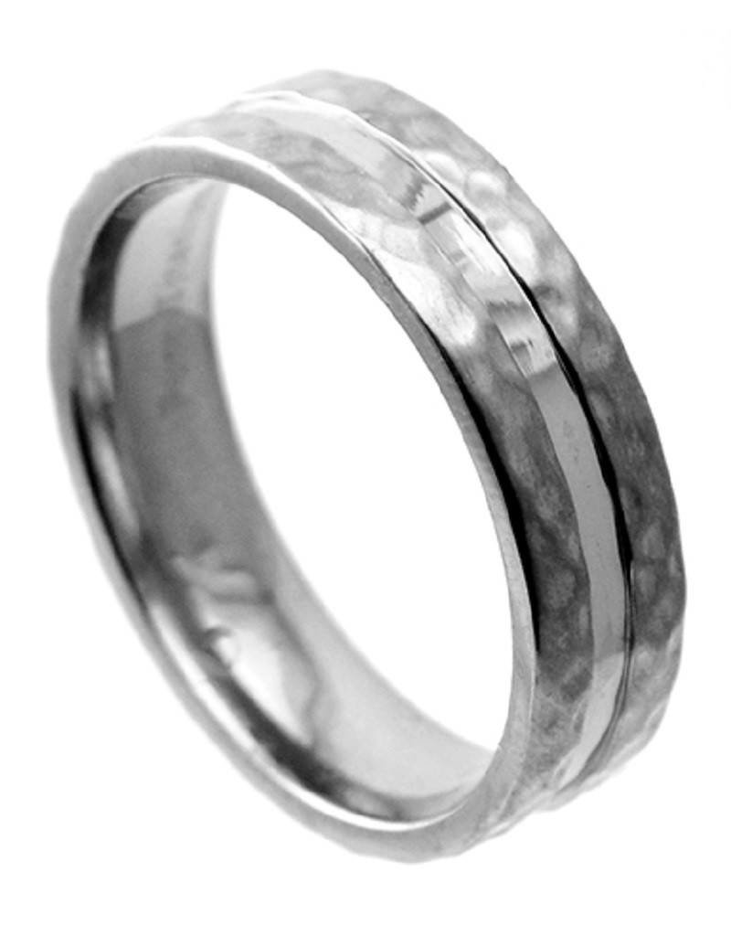 Men's Hammered Edge Titanium  Band Ring